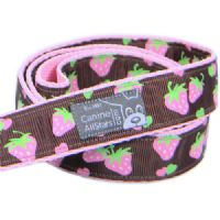 DOG LEAD - PINK STRAWBERRIES ON CHOCOLATE BROWN